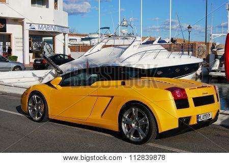 Yellow Lamborghini Gallardo, Puerto Banus.