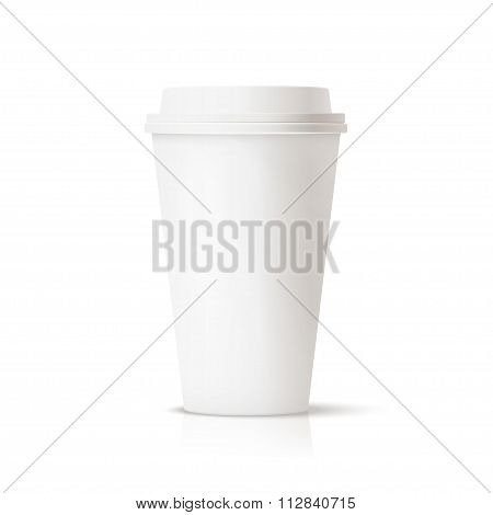 White travel mug, coffee cup.