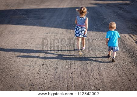 Siblings on a walk