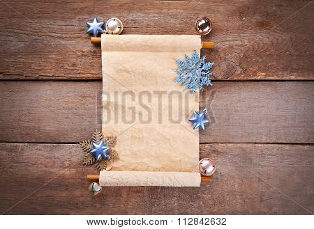 A list of Christmas wishes on wooden background