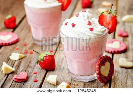 Strawberry Hot White Chocolate With Whipped Cream And Strawberries
