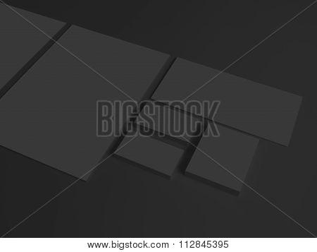 Black branding mockup on dark with business cards