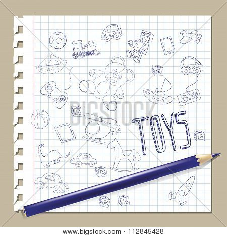 hand draw doodle toys vector