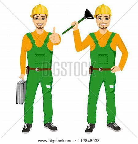 plumber holding plunger in green uniform holding tool box