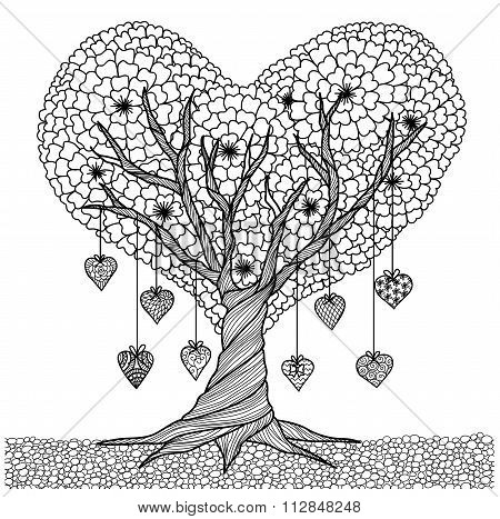 Love Tree Coloring Book