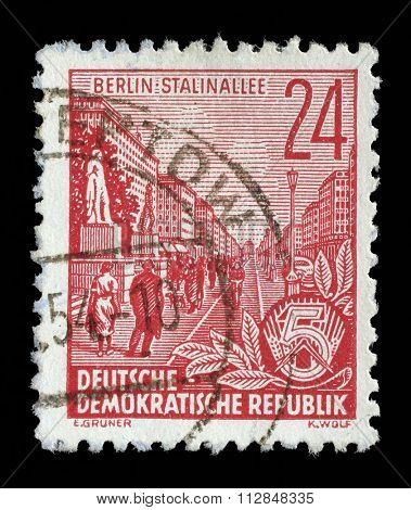 GDR - CIRCA 1955: A stamp printed in GDR, shows Stalin Avenue with inscription Berlin, Stalin Avenue, series Five-year plan, circa 1955