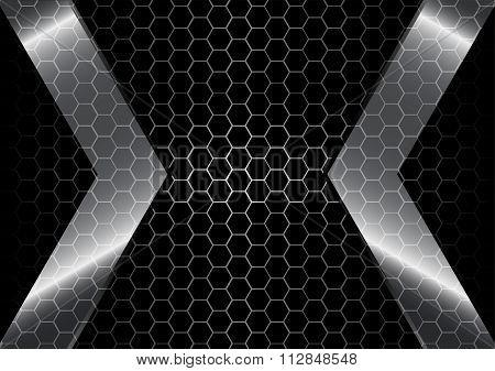 Metallic Backdrop With Hexagon Grid  Background