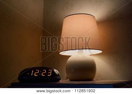 Bedside table at night
