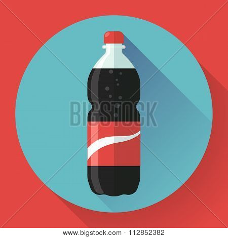 Bottle of cola soda. vector illustration. Flat designed style