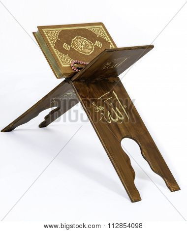 The Holy Quran On The Lectern White Background