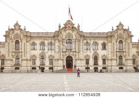 Lima, Peru - October 31, 2011: Government Palace With Guards At Plaza De Armas In Lima, Peru.