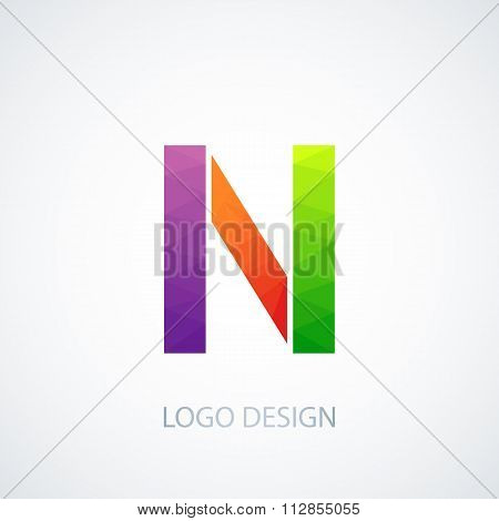 Vector illustration of colorful logo letter n