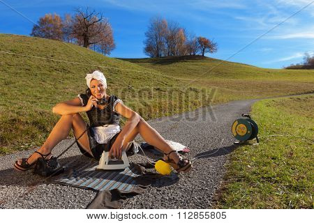 portrait of a homeless housewife who irons in the road