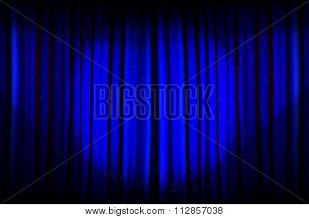 Blue Curtain With Beams Of Light