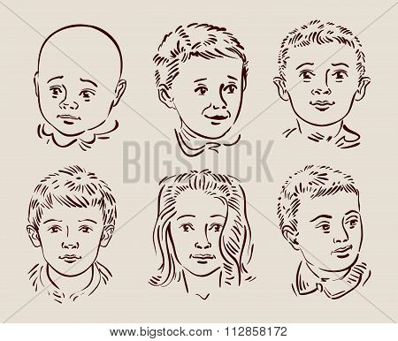 hand-drawn children. vector illustration