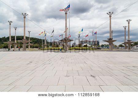 Putrajaya, Malaysia - Circa August 2015: Panorama Of Dataran Putra With Malaysian Flags In  Putrajay