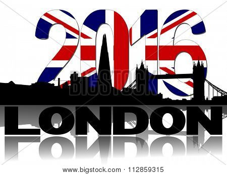 Shard and London skyline with British flag 2016 text illustration