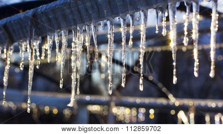 Icicles on warm sun