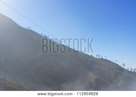 Smoky mountain ridge with blue sky background.