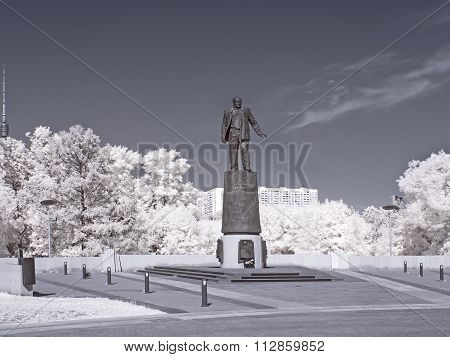 Monument Constructor Korolev In Moscow On Cosmonauts Alley. Infrared Photography