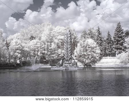 On Territory Of The Exhibition Complex. Infrared Photography. Fountain Gold Ear