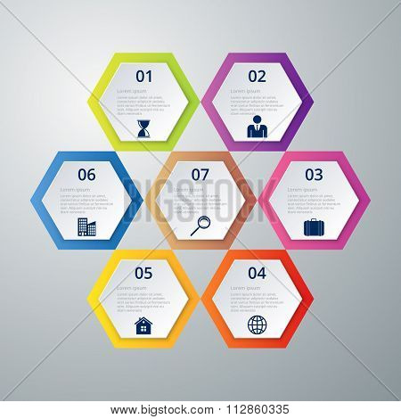 Vector illustration infographics seven hexagons