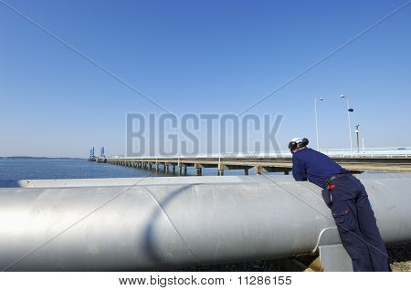 oil worker and pipelines
