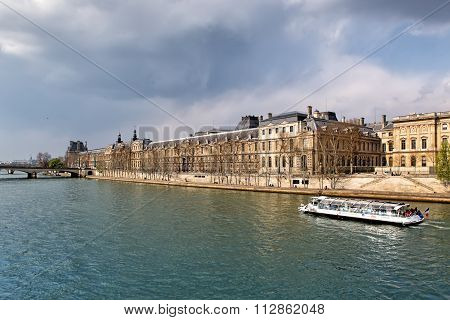 Paris, France - March 27: Louvre Museum And Seine River