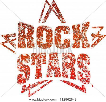 Grunge Style Rubber Stamp Rock Stars In Red Tones