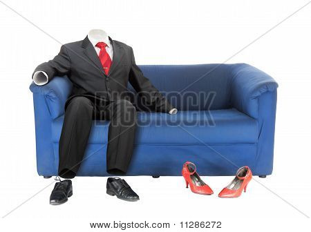 Businessman And Female Red Shoes | Isolated