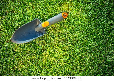 Garden Shovel On A Grass