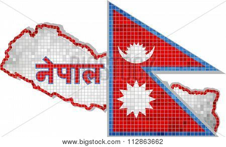 Nepal Map With Flag Inside.eps