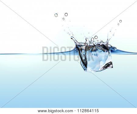 ice cube splashing in the water