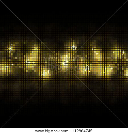 Abstract gold mosaic stripe with black copy space vector background.