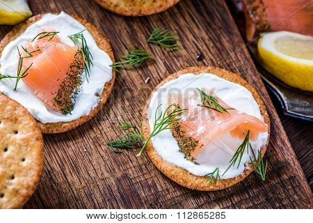Oat Crackers With Smoked Salmon And Cottage Cheese