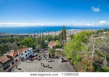 Panoramic view of Funchal from the Monte (Our Lady of the Mountain). Madeira, Portugal