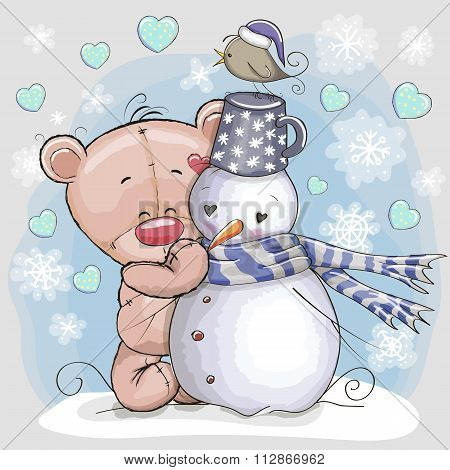 Teddy Bear And Snowman