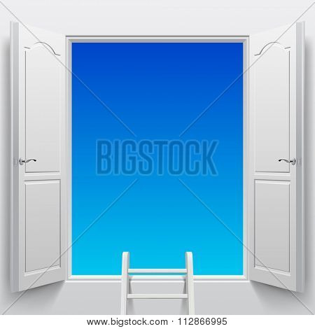Open white double doors into sky and step ladder. Concept design. Vector illustration