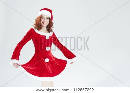 Flirting Caucasian Female Santa Helper