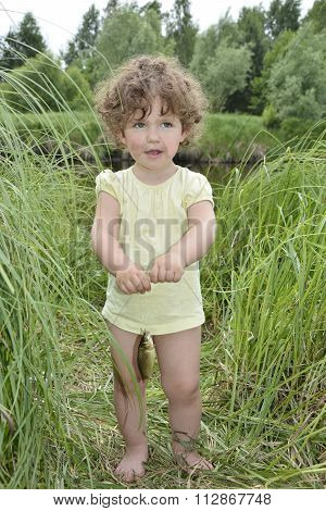 In The Summer Of Little Curly Girl In Awe Of Carp Caught.