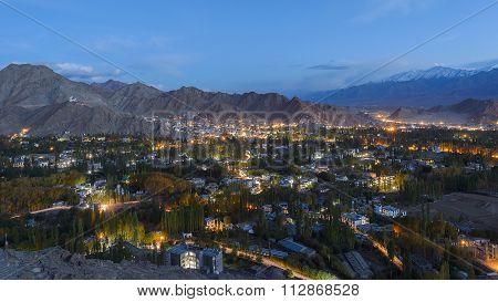 Nightscene Of Leh City, Ladakh, Jammu And Kashmir, India