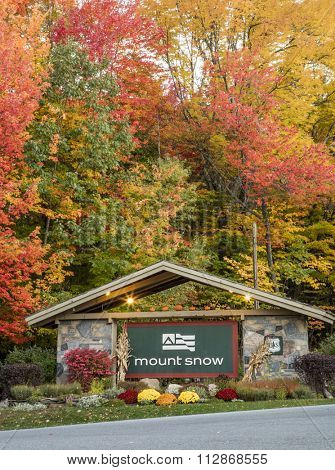 Mount Snow, Vermont, USA - October 12th 2015: The entrance to the famous Mount Snow ski resort in Southern Vermont, USA