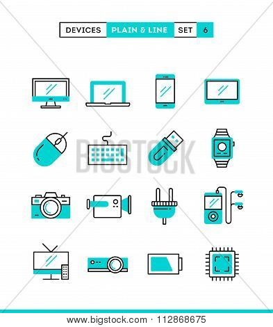 Technology, Devices, Gadgets And More. Plain And Line Icons Set, Flat Design