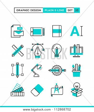 Graphic Design, Creative Package, Stationary, Software And More. Plain And Line Icons Set, Flat Desi