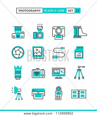 Photography, Equipment, Post-production, Printing And More. Plain And Line Icons Set, Flat Design, V