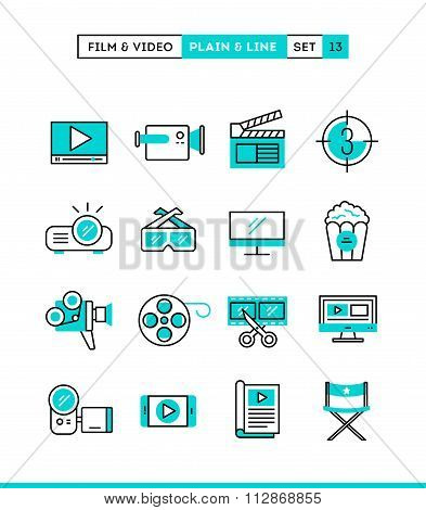 Film, Video, Shooting, Editing And More. Plain And Line Icons Set, Flat Design