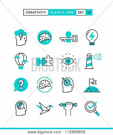 Creativity, Imagination, Problem Solving, Mind Power And More. Plain And Line Icons Set, Flat Design