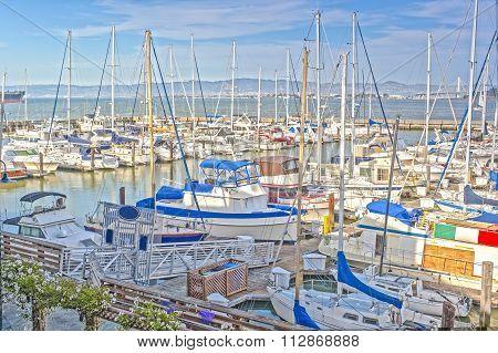 Colorful Sailing Boats At Fishermans Wharf Of San-francisco Bay In California,united States