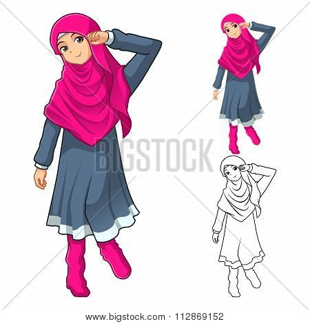 Muslim Girl Fashion Wearing Pink Veil or Scarf with Dress and Boots