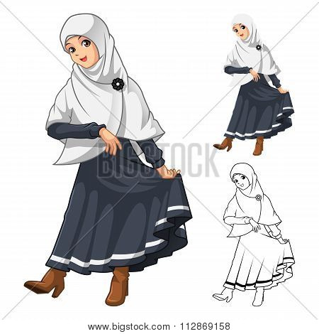 Muslim Girl Fashion Wearing White Veil or Scarf with Thanks Pose and Black Dress Outfit